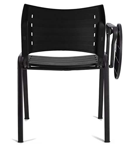 4x Silla de colectividades con pala, PVC, ideal para academias, autoescuelas. Apilables. Color negro