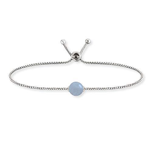 Engelsrufer Armband mit Aquamarin I 925er-Sterlingsilber rhodiniert I 8,2 mm I Einheitslänge