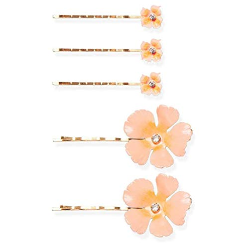 Niumanery Women Alloy Wavy Bobby Pins Sweet Enamel Petals Flower Hair Clips Jewelry Rhinestone Wedding Bridal Ponytail Hairstyle Barrettes Pink