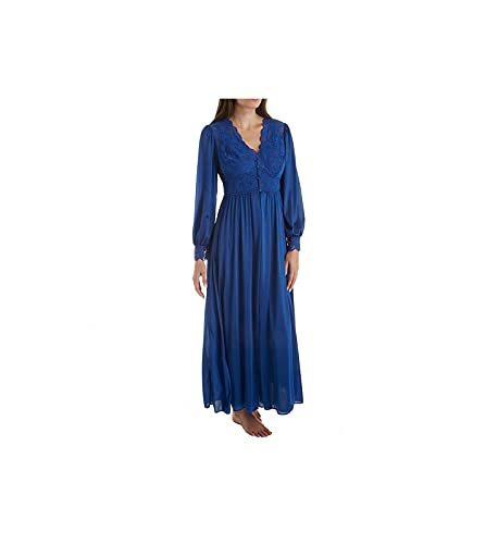 Shadowline Women's Plus Size Silhouette 54 Inch Long Sleeve Coat, Navy, 2X