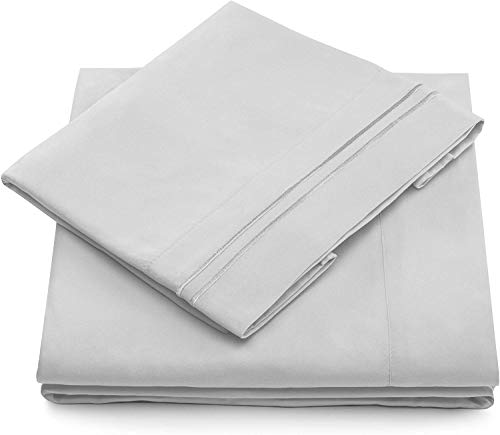Cosy House Collection 1500 Series Bed Sheet Set - Super Soft Hotel Luxury Bedding - Wrinkle, Stain & Fade Resistant - Hypoallergenic - 4 Piece (Queen, Silver)