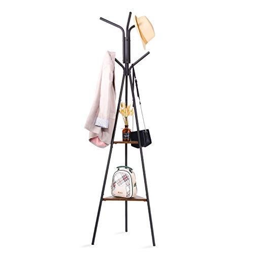 HOUSE DAY Entryway Coat Rack Stand Metal Coat Tree with 2 Shelves Premium Coat Holder for Clothes Hat Bag Purse Umbrella Vintage Style