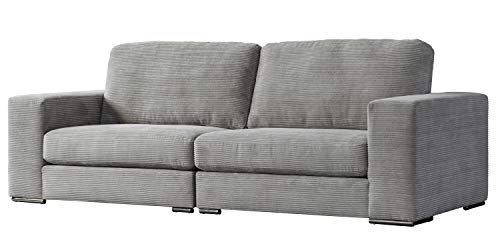 "Acanva Luxury Modern Corduroy Extra-Deep Living Room Sofa, 106""W Couch, Light Grey"