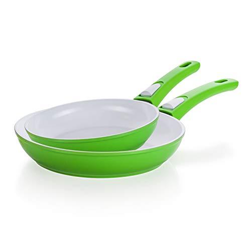 Genius Cerafit Style Deluxe Keramikpfannen-Set 20 24 cm in grün - mit kratzfester Antihaft-Beschichtung für gesundes Kochen ohne Fett und Öl - Induktionspfannen für alle Herdarten