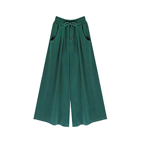 Haremshose Damen Sommerhose Damen Leicht Pumphose Culottes Hosen Boho Hose Plus Size Sommer Weites Bein Umstandshose Hippie Kleidung Haremshosen Frauen Aladinhose (Green, L)