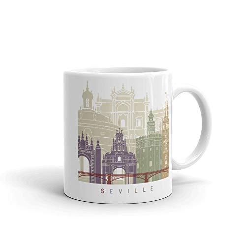 Taza de café de Sevilla España, idea de regalos para el hogar, taza de té, regalos de día de Acción de Gracias, regalo de Navidad, 15 onzas