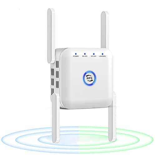Extensor de rango de refuerzo WiFi, Repetidor Wifi 5G Amplificador Wifi 2,4G Enrutador amplificador de se?al Wi-Fi, Extensor inalámbrico de largo alcance de 1200 Mbps,Blanco
