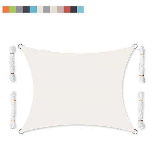 XQKXHZ Velas de Sombra, Fiesta De Jardín Patio Patio Toldo Toldo Protector Solar UV 95% del Bloque Rectangular Crema para La Instalación Al Aire Libre Y Actividades 2X2.5M,Blanco