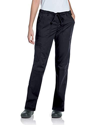 Landau Women's 5-Pocket Elastic Waist Drawstring Cargo Stretch Scrub Pant, Black, Small Petite