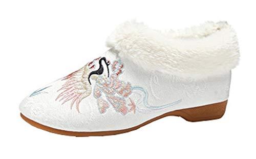 Icegrey Donna Mocassini Scarpe Ricamate Stivali Invernali Foderati in Pelliccia Bianca 35