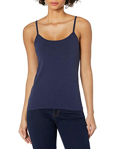 Hanes Women's Stretch Cotton Cami with Built-in Shelf Bra, Navy, Small