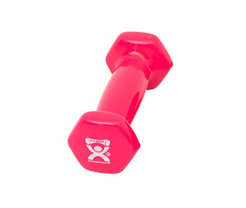 CanDo Color-Coded Vinyl Coated Iron Dumbbell, Pink, 1 Pound