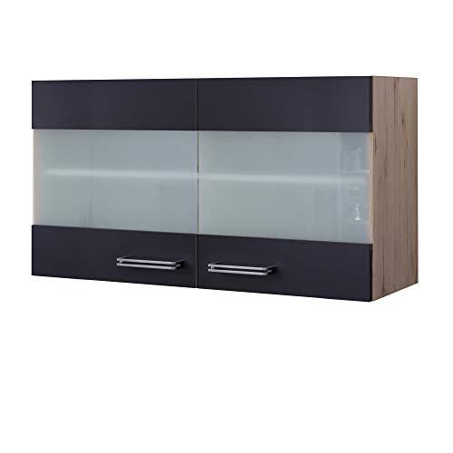MMR Küchen-Glashängeschrank LONDON - Küchenschrank - Hängeschrank - 2-türig - 100 cm breit - Anthrazit