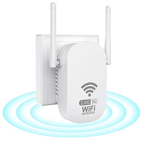 Repetidor WiFi Amplificador Señal WiFi AC1200 Repetidor Señal WiFi (867Mbps 5GHz, 300Mbps 2,4GHz, Amplificador WiFi, Admite Modo Ap/Repetidor/Router, Compatible con Enrutador Inalámbrico,Blanco)