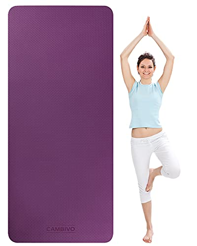 CAMBIVO Large Yoga Mat for Women Men, 81cm Extra Wide Exercise Mat, TPE Eco Friendly Non...