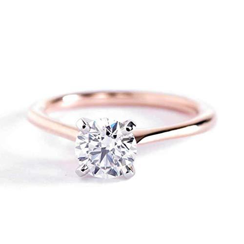 Anillo de compromiso de oro rosa de 18 K con diamante solitario redondo SI2 D de 0,70 quilates