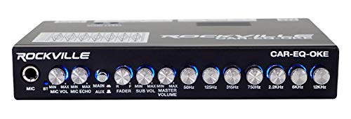 Rockville CAR-EQ-Oke Car Audio 7 Band Equalizer w Bluetooth + Mic Input Karaoke