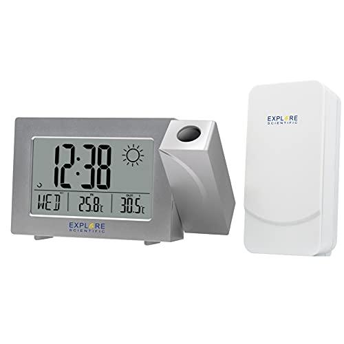 EXPLORE SCIENTIFIC Orologio con proiezione dell'ora, display con previsioni del tempo RPW3008, doppio allarme snooze, argento