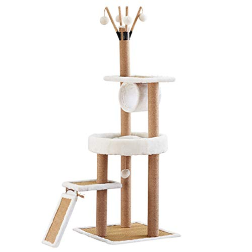 Large Cat Climbing Frame with Tunnel, Adult Cats Tree Tower with Sisal Scratching Post and Spacious Perches, Easy to Build(Beige)