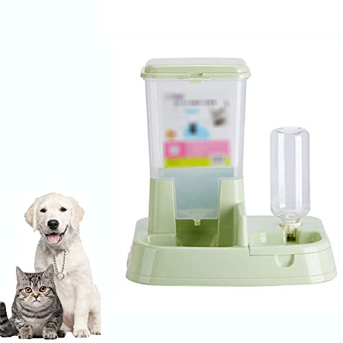 LPWCAWL Automatic Pet Feeder,Integrated Feeding Bowl And Water Dispenser for Cat Dog,Large Capacity Food Bucket,Suitable for Pets at Home Alone,Green