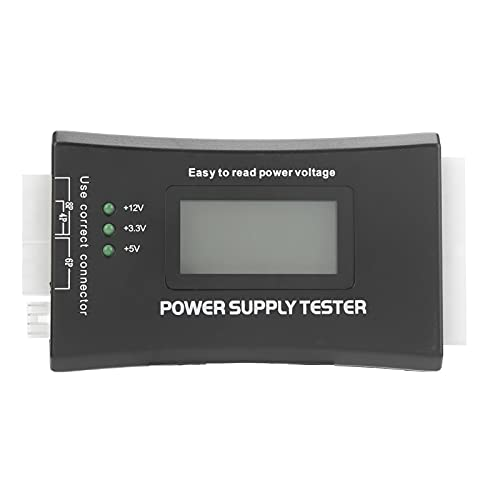 Probador de fuente de alimentación de computadora PC 20 / 24Pin con pantalla LCD Voltaje Valor PG para conectores ATX BTX ITX Probador de fuente de alimentación con alarma automática de zumbador