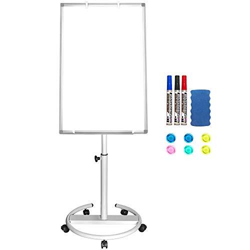 Pizarra blanca magnética portátil de 90 x 60 cm de borrado en seco con caballete y ganchos para papelógrafo
