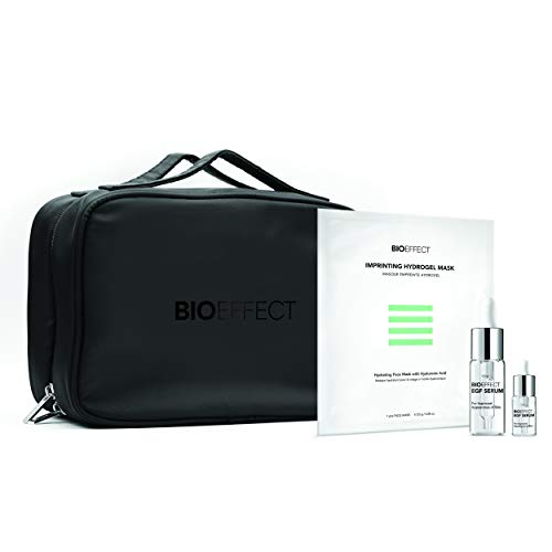 BIOEFFECT Healthy Skin Essentials Set with EGF Serum, Imprinting Hydrogel Face Sheet Mask with Hyaluronic Acid and Cosmetic Bag, Deeply Moisturizing, Firming, Wrinkle Fighting Skincare Gift Set