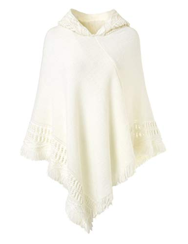 Kyerivs Women's Hooded Cape Tassel Shawl Crochet Poncho Knitted Tops with Fringed Hem (White)