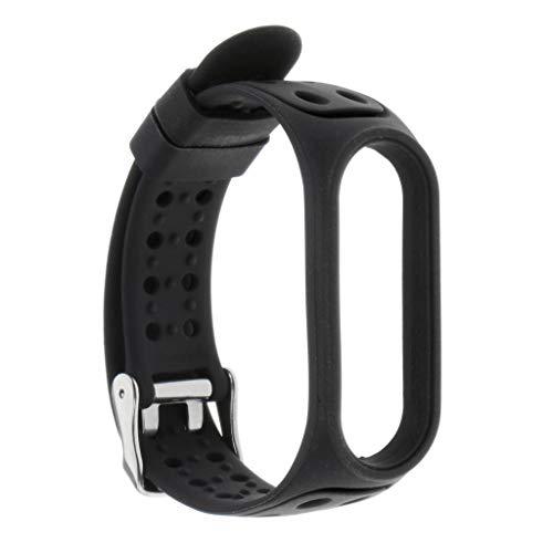 homozy Pulseira de silicone para xiaomi mi banda 5 substituição, pulseira de pulso pulseira de pulseira de relógio inteligente acessório ajustável para mi - Preto