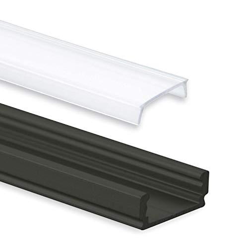 Aluminium Profil 2 Meter - Aluprofil für LED Stripes/Streifen Abmessung: 2000mm x 17mm x 7mm ALU Leiste (Alu Profil schwarz inkl. milchiger Abdeckung für LED Stripe)
