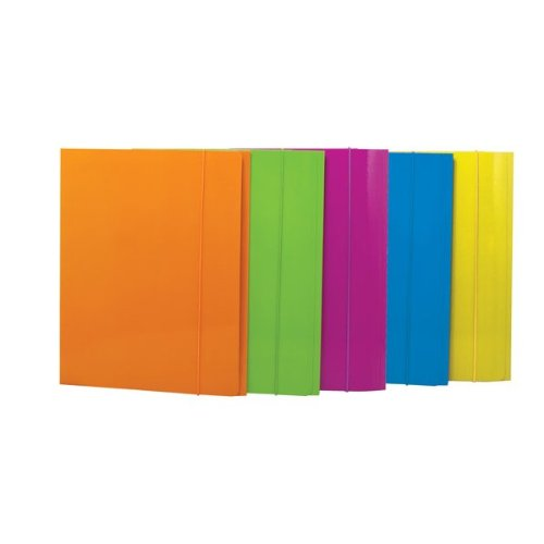 Cartelle con Elastico, Colori assortiti: Azzurro-Verde Acido-Arancio-Fucsia-Giallo, Confezione da 50 pezzi