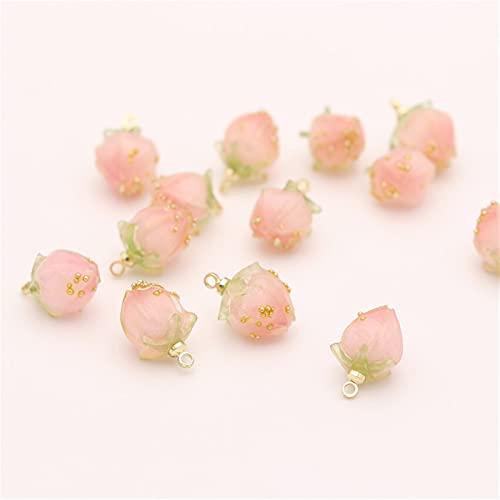 YSTSPYH Accesorios de Pulsera 2 / Piezas Accesorios de joyería de Bricolaje Colgante de Frutas de Resina Multicolor 9 * 15 mm Flor Bud Cute Pendientes Collar Pulsera (Metallfarbe : Pink)