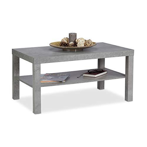 Relaxdays Tavolino da Divano Effetto Cemento, con Ripiano, Tavolo Basso, per Salotto, MDF, Grigio, HxBxT 45 x 90 x 55 cm