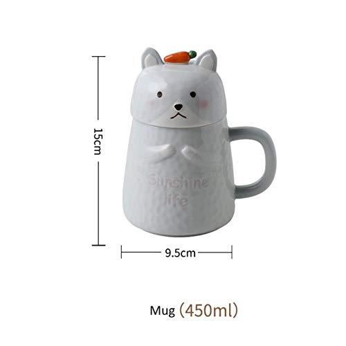 SHANGH - Juego de vajilla de cerámica para niños, diseño de gato y conejo, regalo de cumpleaños infantil, taza