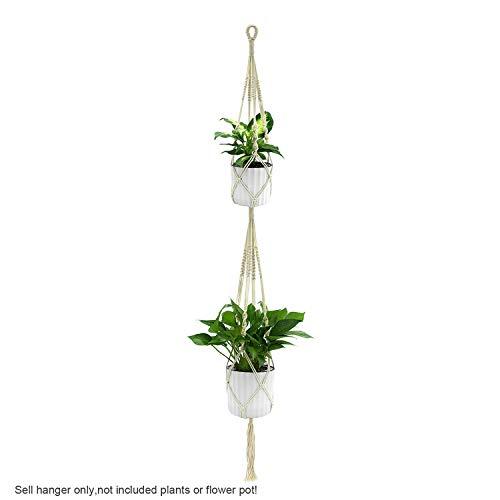 PENVEAT 1pièce macramé Plantes Cintre Crochet 4 Pieds rétro Pot de Fleurs à Suspendre Corde Corde de Support pour Home Garden Décoration de Balcon Décoration Murale, Type E 173cm, Taille Unique