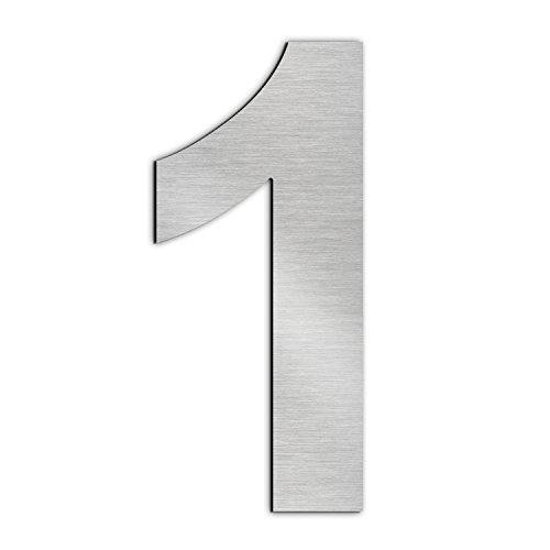 Brushed House Number 1 One-20.5cm 8.1in-Made of Solid 304 Stainless Steel ,Floating Appearance,Easy to Install