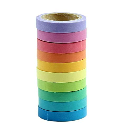 Qpower, Washi Rainbow, 10 X Decorativo de Washi Tape Arco Iris Rollos...