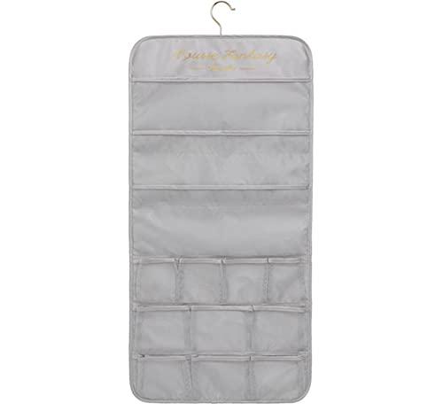 26 bolsillos de malla con cierre de gancho de metal, estante de pared de doble cara para ropa interior, calcetines, sujetadores y calcetines (gris)