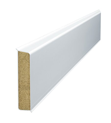 Döllken Cubu Flex Life weiss - 60mm hohe Holzkernsockelleiste mit Polyblend-Ummantelung für Vinylboden, Laminat und PVC Abschlussleiste Wandabschlussprofil Paket a 25m