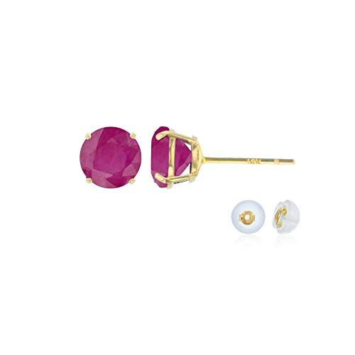 14K Solid Yellow Gold 4mm Round Natural Ruby July Birthstone Prong Set Stud Earrings For Women and Girls