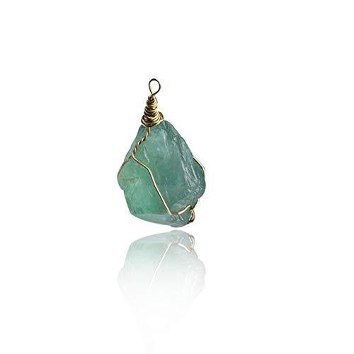 SHOYY 1PC Natural Piedra de Gema de Cuarzo Colgante, Collar de Bala Irregular Péndulo Columna 2.5-3c joyería DIY (Metal Color : Green 1)