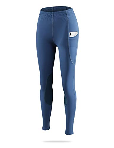 BALEAF Kid's Riding Tights Knee-Patch Breeches Girls Horse Equestrian Schooling Pants Pocket UPF50+ Blue L