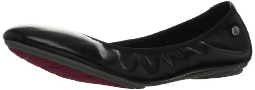 Hush Puppies Women's Chaste Ballet Flat, Black Leather, 8.5 Wide US