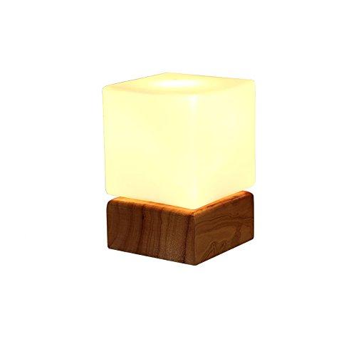 uus Lampe de table Solide Bois Verre Chambre Chevet Lampe E27 Ampoule Base 12 * 17cm Lumière Chaude (Économie d'énergie A +) (Couleur : Warm light12*17cm)