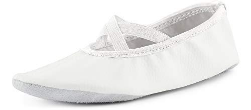 Ladeheid Damen Mädchen Jungen Ballettschuhe Gymnastikschuhe Turnschuhe 25 bis 41 LAJD001 (Weiß, 39)