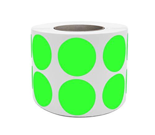 Royal Green Rollos de Pegatinas Autoadhesivas de Color Verde Neón de 19mm Etiquetas Redondas Circulares de 1.9cm Adhesivo Permanente Paquete de 1050