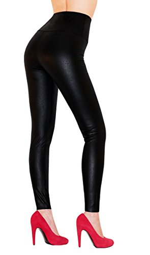 Sodacoda Damen Sexy Kunst-Leder Leggings - Hohe Taille Wet-Look (L)