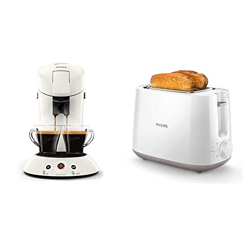 Philips Senseo HD6554/10 Kaffeepadmaschine (Crema Plus, Kaffeestärkewahl) weiß & HD2581/00 Toaster, integrierter Brötchenaufsatz, 8 Bräunungsstufen, weiß