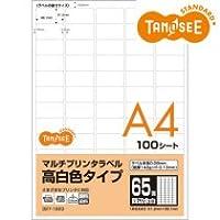 TANOSEE マルチプリンタラベル 高白色タイプ A4 65面 38.1×21.2mm 四辺余白付 角丸 1冊(100シート)