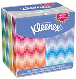 -- KLEENEX Facial Tissue Pocket Packs, 3-Ply, White, 10/Pouch, 8 Pouches/Pack